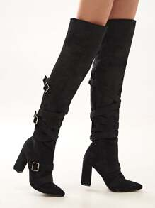 Buckle Strap Chunky Heeled Riding Boots