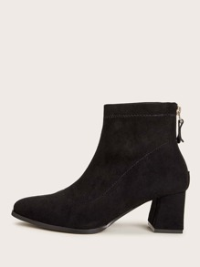 Zip Back Suede Chunky Boots