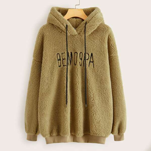 Drawstring Detail Letter Embroidered Teddy Hoodie