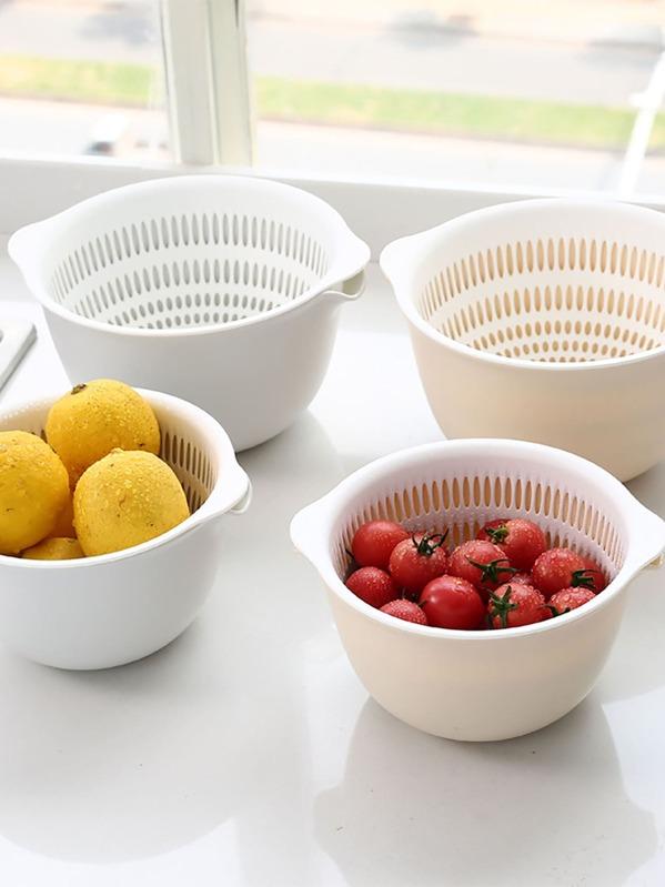 1pc Kitchen Double Layer Drain Basket