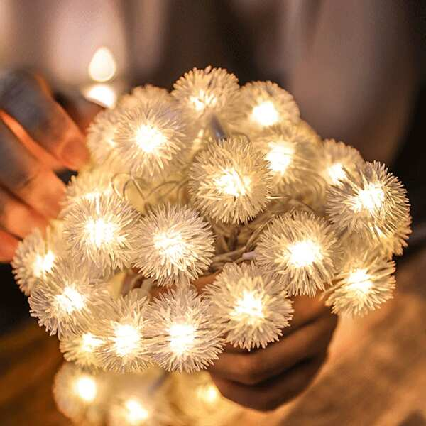 10pcs Dandelion Shaped Bulb String Light, White
