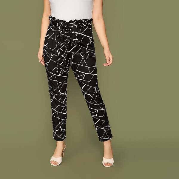 Plus Geometric Print Paperbag Waist Belted Pants