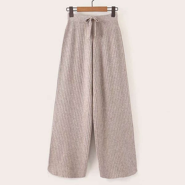 Rib-Knit Drawstring Waist Wide Leg Sweater Pants, Khaki
