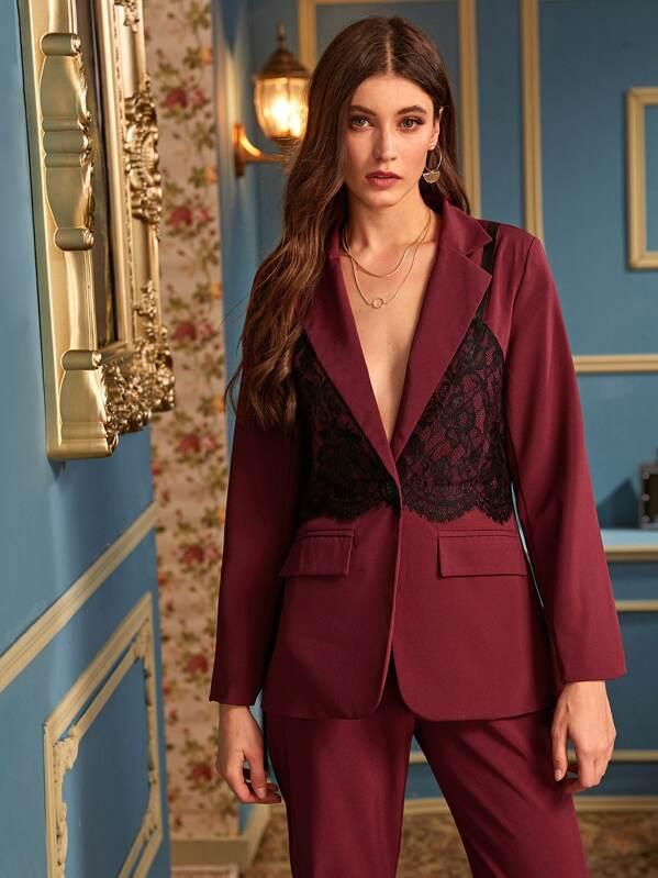 Contrast Lace Lapel Collar Blazer, Mila