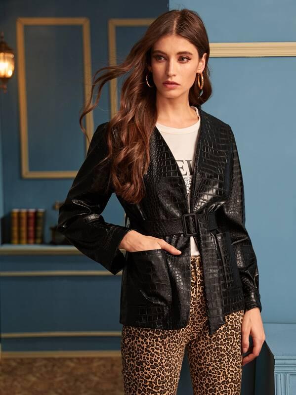 Crocodile Print Belted Faux Leather Coat, Mila