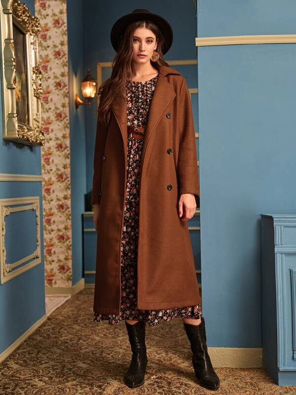 Solid Lapel Collar Double Breasted Longline Coat, Mila
