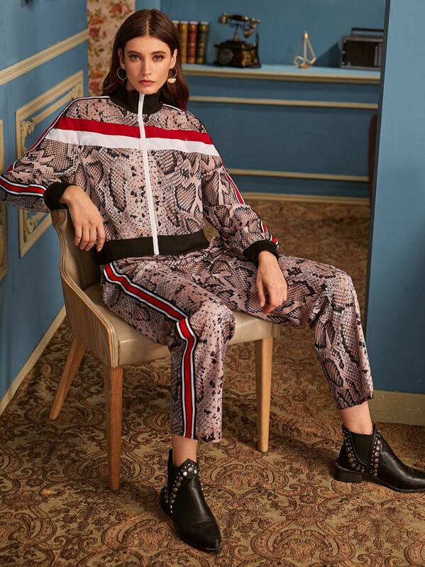 Snakeskin Print Tape Panel Jacket & Side Striped Pants, Mila