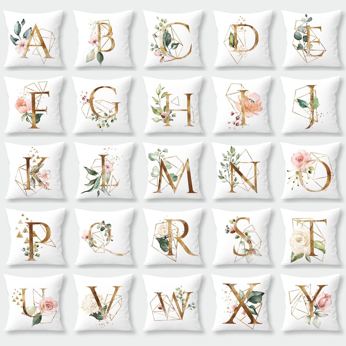 Kussenhoes 1 st Letter & Bloemen & Geometrisch patroon