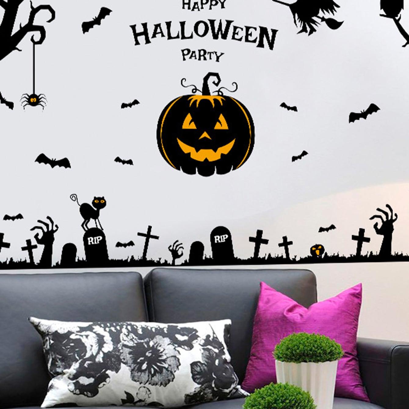 Muursticker Halloween-pompoen & vleermuisprint