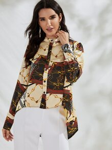 Chain Print Mock Neck Blouse