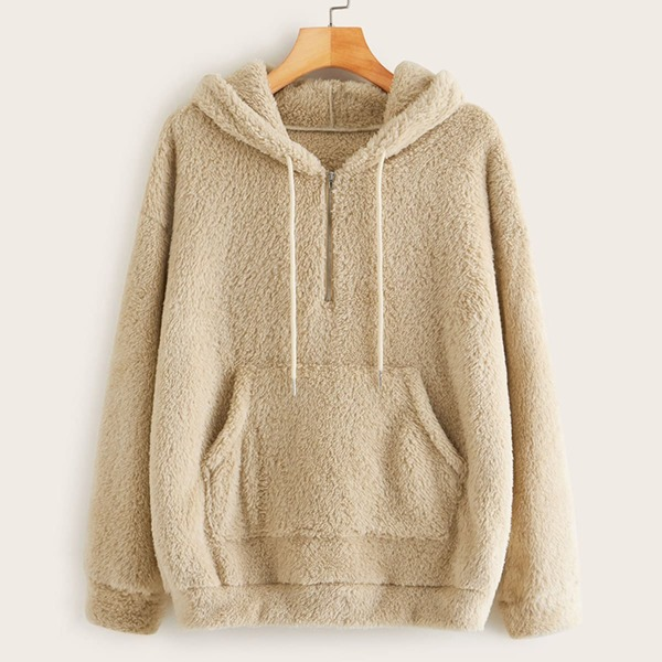 Solid Zip Detail Kangaroo Pocket Teddy Hoodie