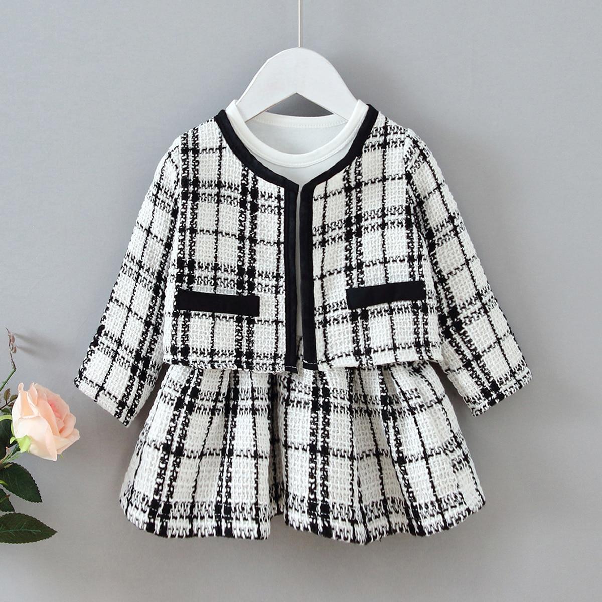 Твидовые куртка и платье для девочек от SHEIN