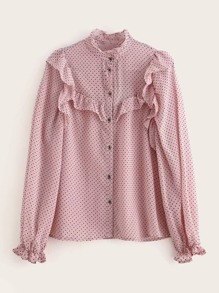 Frill Trim Stand Collar Polka Dot Blouse