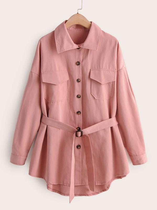 Flap Pocket Belted High Low Coat