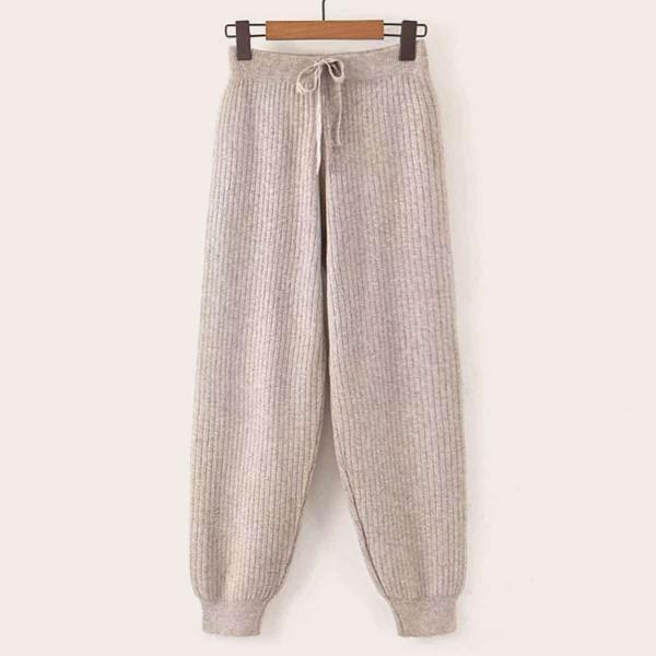 Ribbed Knit Drawstring Carrot Sweater Pants, Khaki