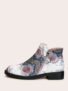 Snakeskin Side Zip Ankle Boots