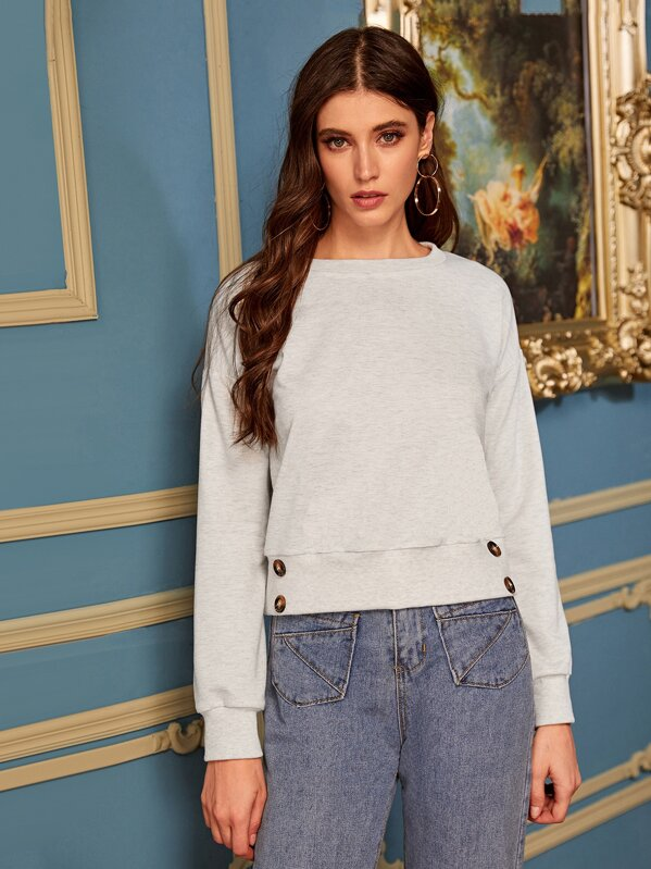 Solid Button Drop Shoulder Sweatshirt, Mila