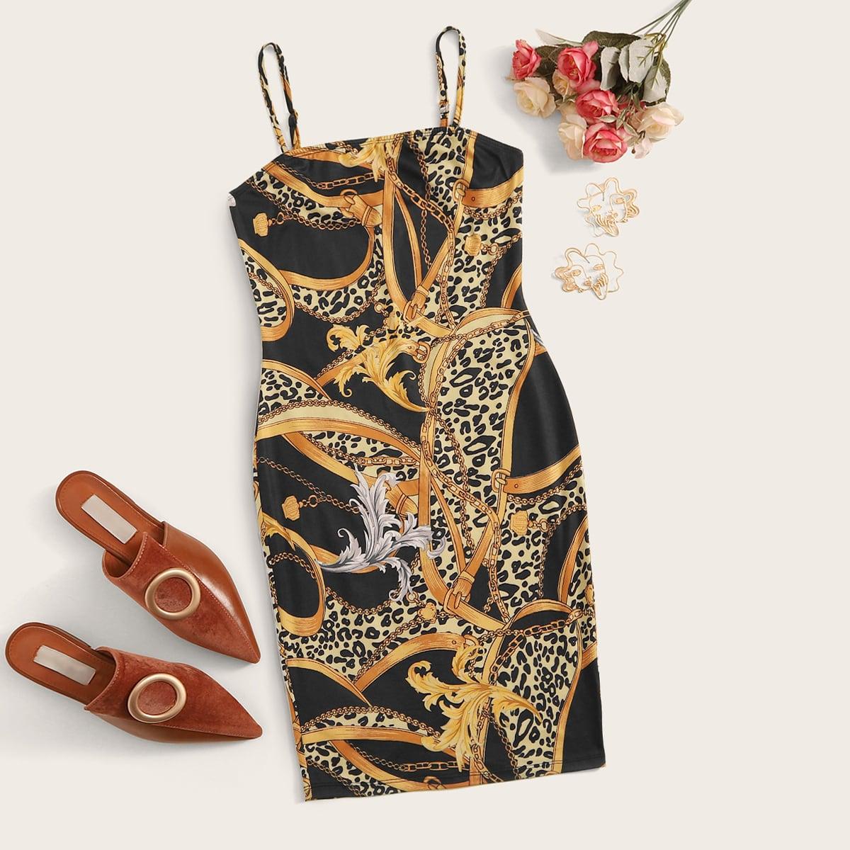 SHEIN / Figurbetontes Kleid mit Kette Muster