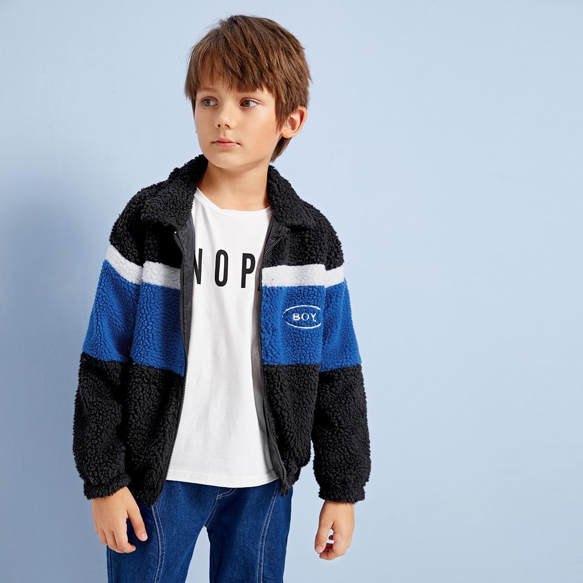 Контрастная пушистая куртка с вышивкой для мальчиков от SHEIN