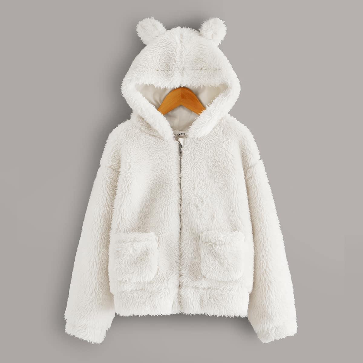 Плюшевая куртка с карманом и ухом для девочек от SHEIN