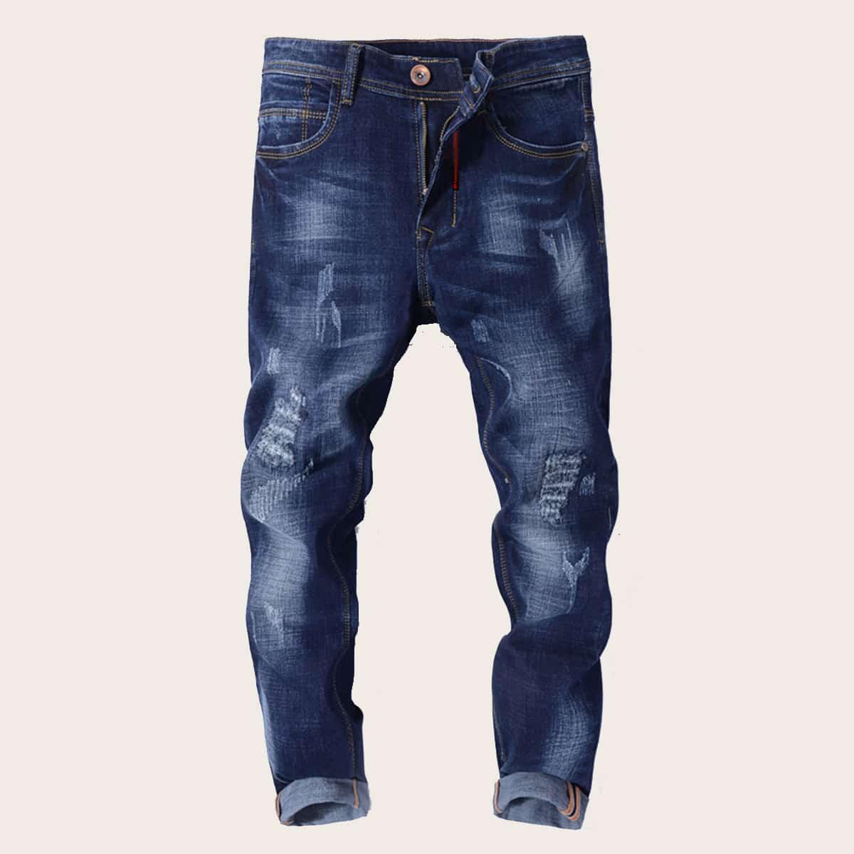 Blauw Casual Vlak Heren Jeans Gescheurd