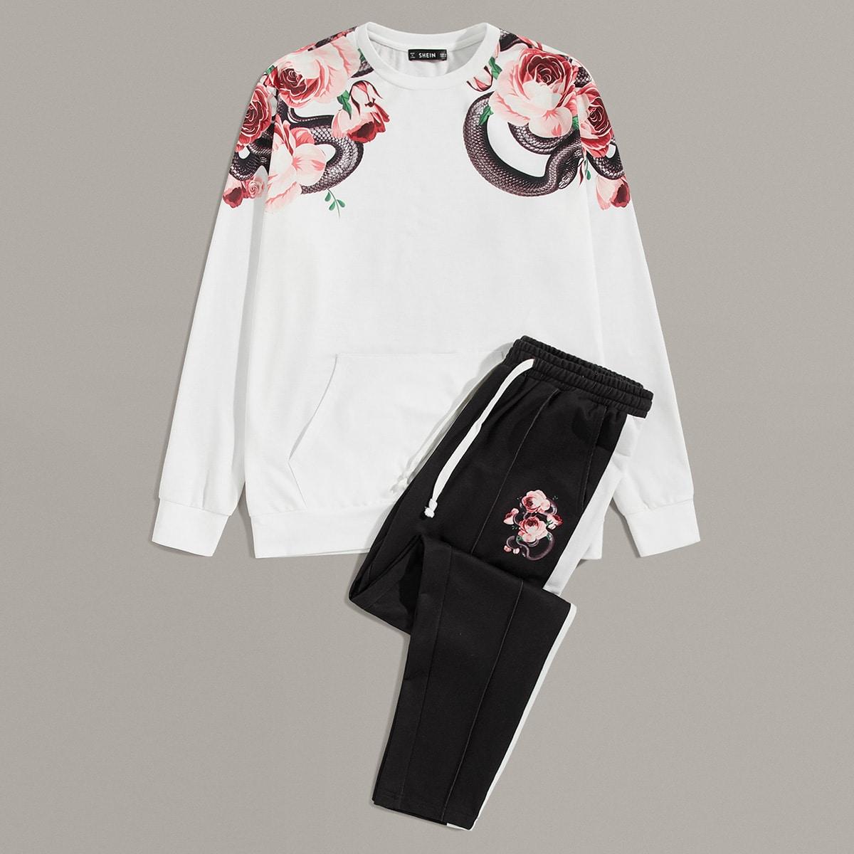 Mannen Snake en Bloemen Pullover & Gestreepte Side broek Set
