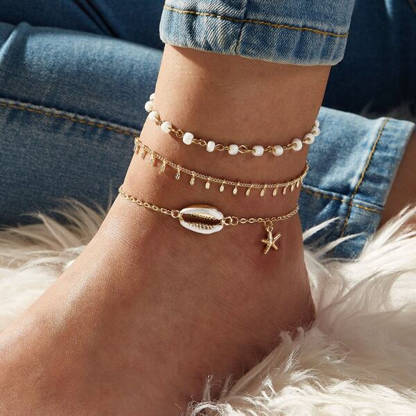 3pcs Shell & Starfish Charm Chain Anklet, Gold