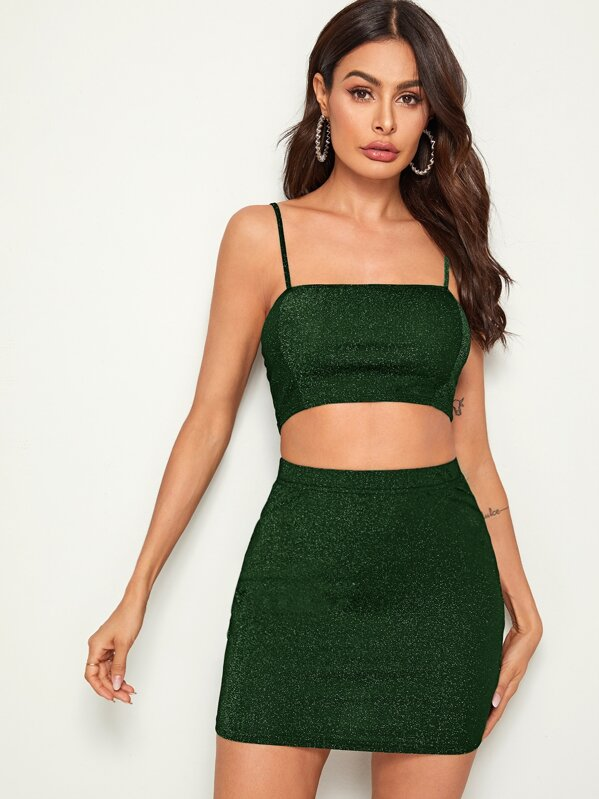Glitter Crop Cami Top & Bodycon Skirt Set, Andy