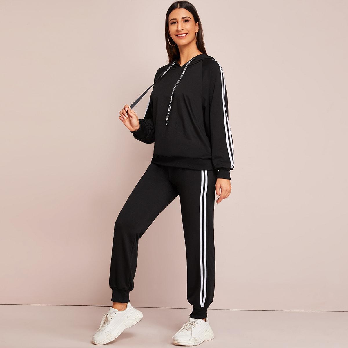 Спортивные брюки и толстовка с текстовым принтом и полосками от SHEIN