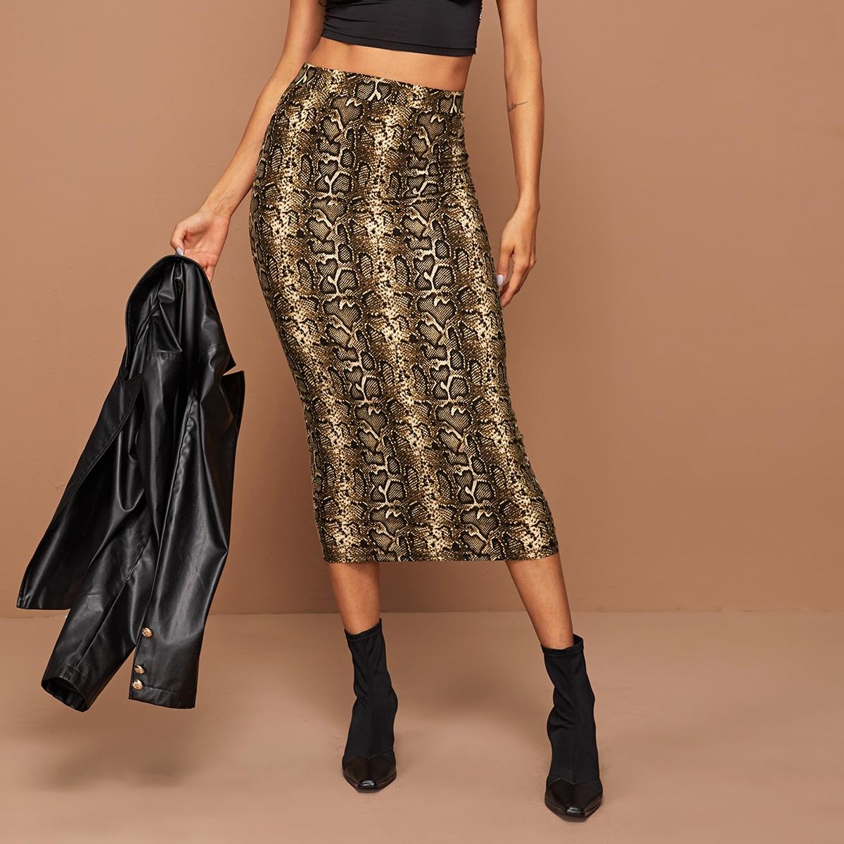 SHEIN / Falda lápiz con estampado de piel de serpiente