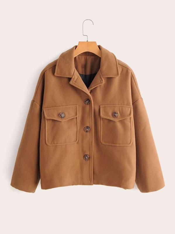 Pocket Front Solid Tweed Jacket
