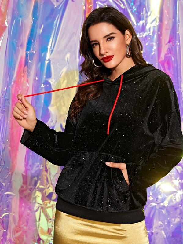 Kangaroo Pocket Drawstring Velvet Hoodie, Juliana
