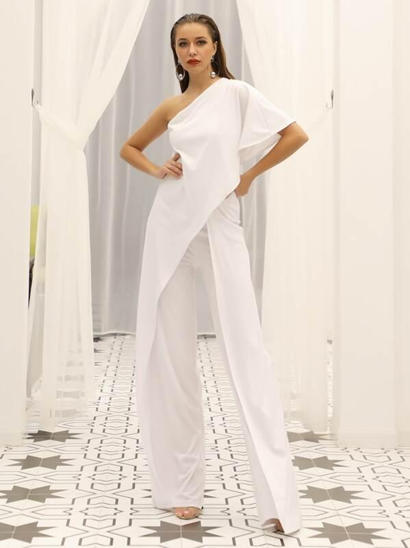 Missord One Shoulder Asymmetrical Wrap Wide Leg Jumpsuit