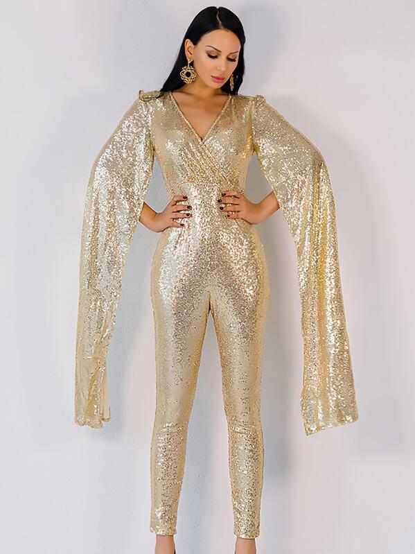 Missord Extra Long Split Sleeve Sequin Jumpsuit