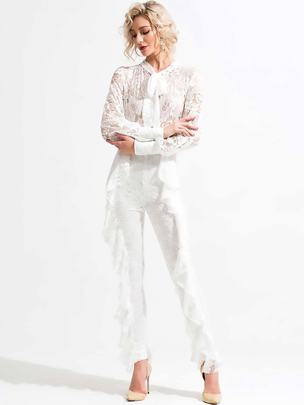 Missord Tie Neck Ruffle Trim Sheer Lace Jumpsuit