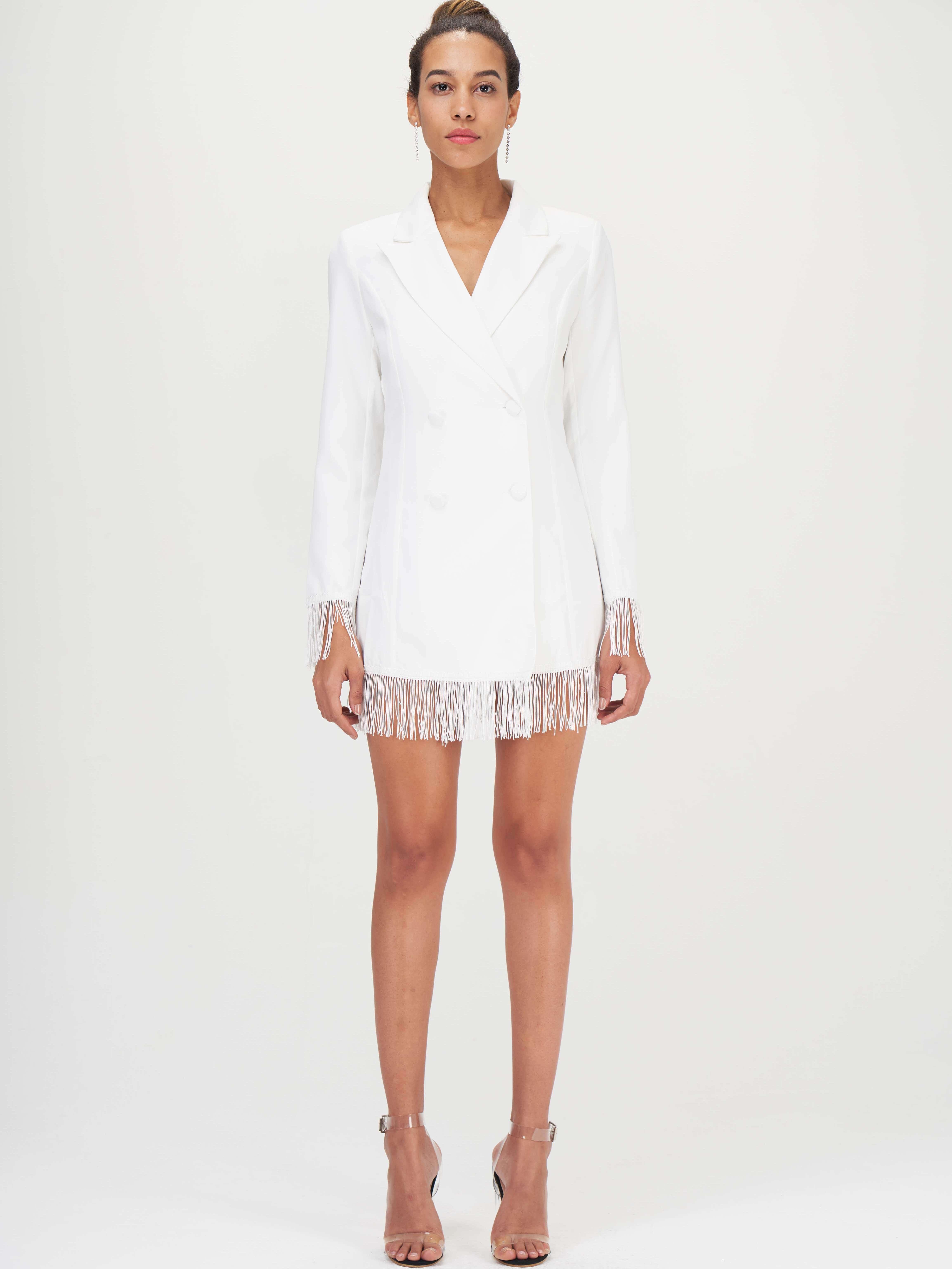 Двубортное платье-пиджак с бахромой