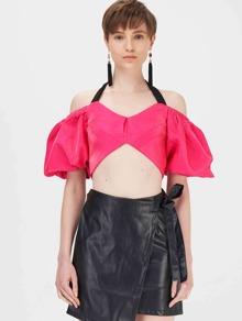 Halter | Sleeve | Neon | Pink | Back | Top