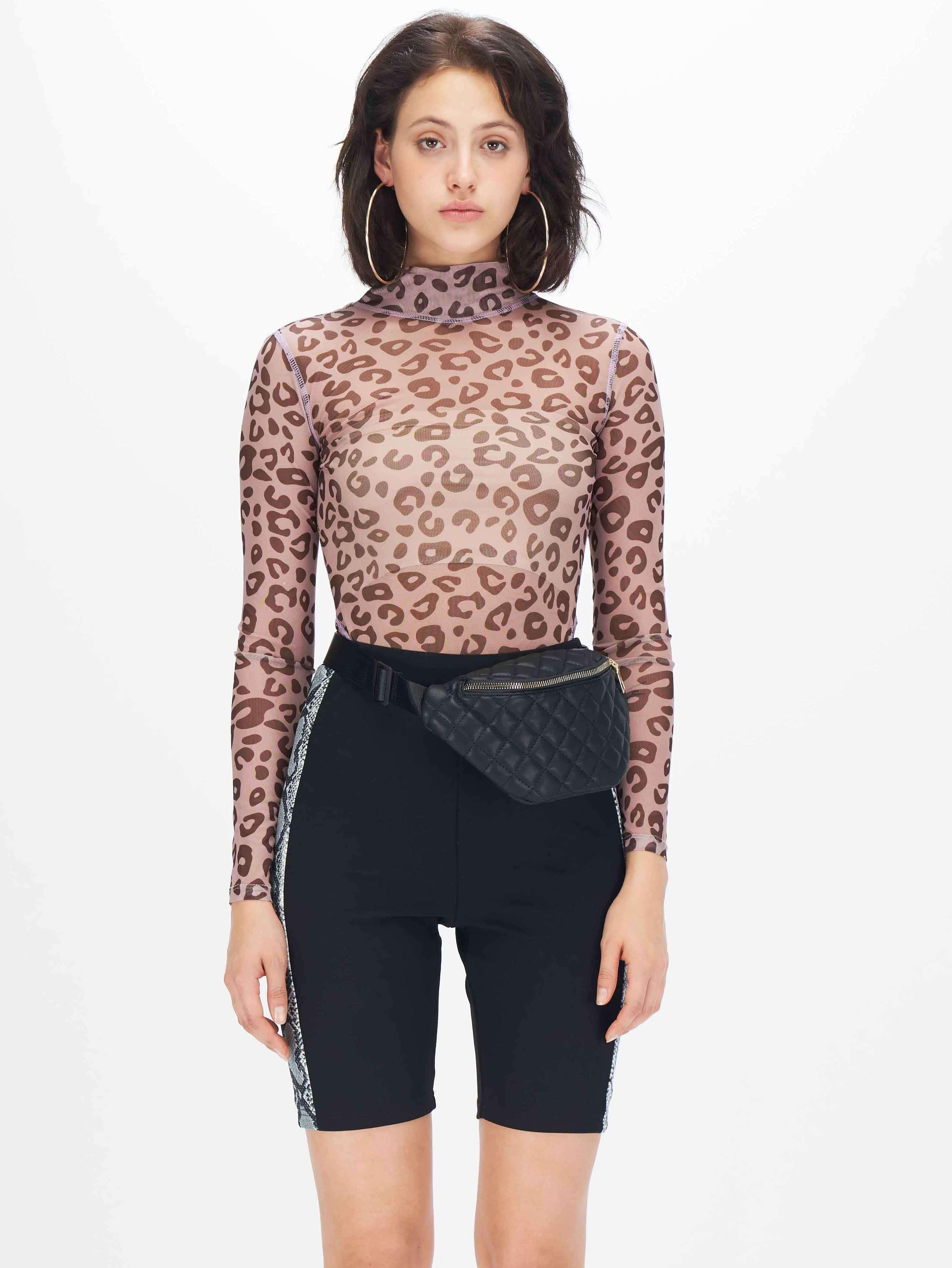 Прозрачное сетчатое боди с леопардовым принтом без комплекта нижнего белья