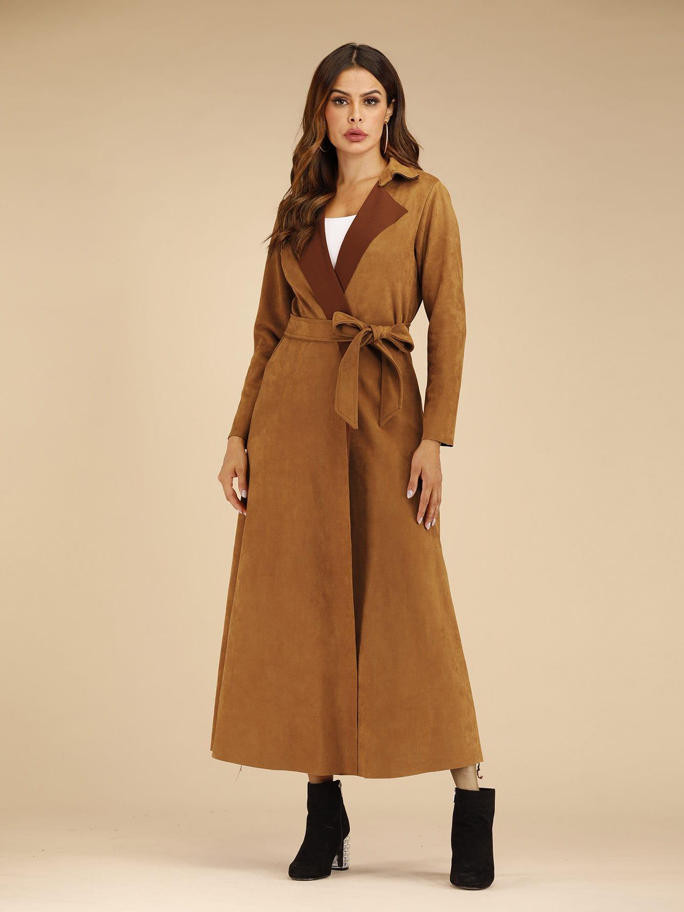 Длинное замшевое пальто