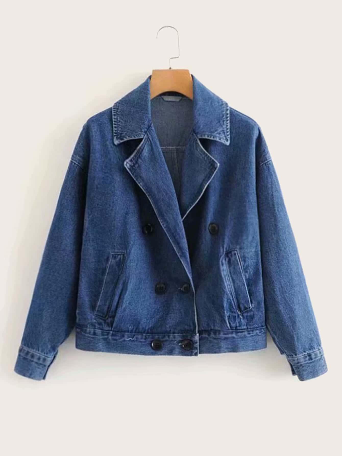 Двубортная джинсовая куртка с оригинальным воротником