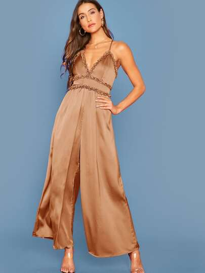 SheIn / Frill Trim Crisscross Backless Wide Leg Jumpsuit