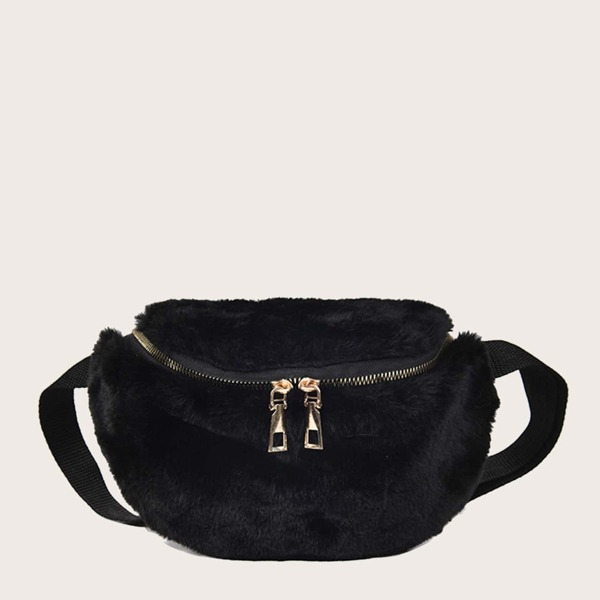 Girls Zip Front Fluffy Fanny Pack