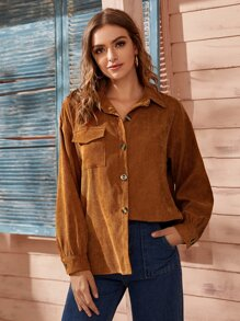 Corduroy Flap Pocket Button Front Blouse