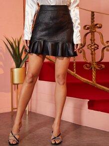 Crocodile | Leather | Ruffle | Skirt | Faux | Mini