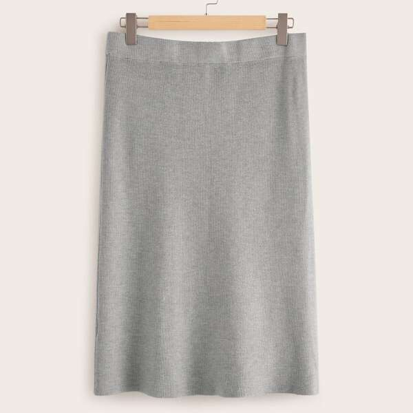 Plus Solid Ribbed Knit Sweater Skirt