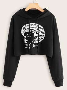 Figure & Letter Graphic Drawstring Hooded Sweatshirt