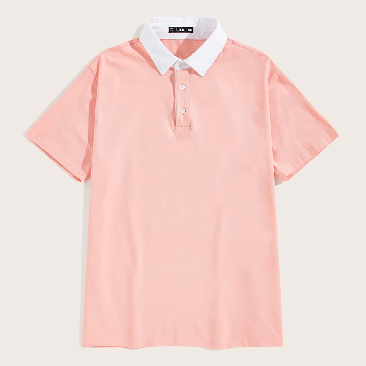 Мужская рубашка-поло с контрастным воротником фото