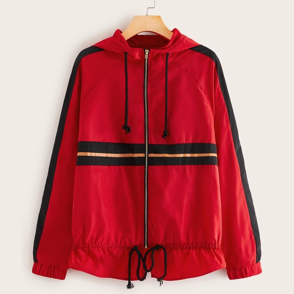 Striped Side Drawstring Detail Zipper Up Hoodie Wind Jacket