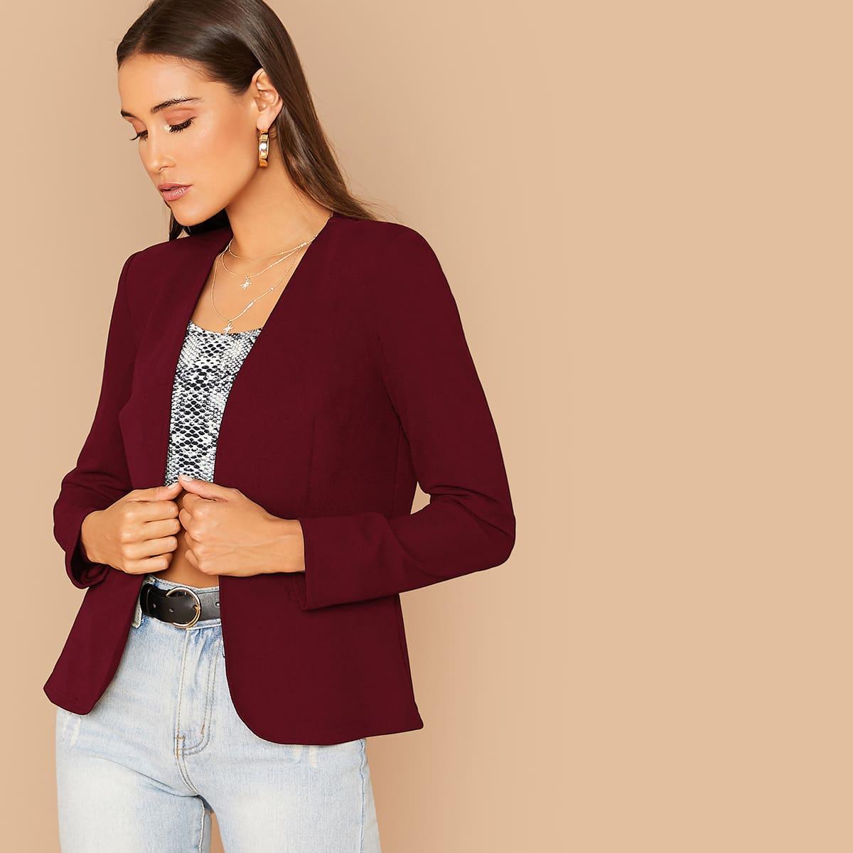 Стильный однотонный пиджак от SHEIN