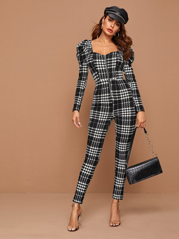 Sweetheart Neck Zip Front Gigot Sleeve Plaid Jumpsuit, Andy
